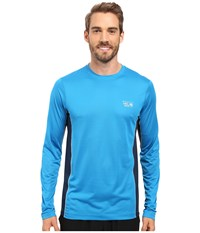 Mountain Hardwear Wicked Lite L S Tee Dark Compass Men's Long Sleeve Pullover Blue