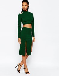 City Goddess Midi Skirt With Double Thigh Splits Green