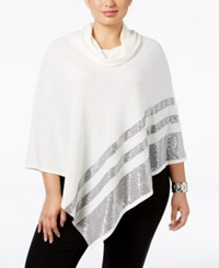 Belldini Plus Size Cowl Neck Sequined Poncho Ivory Gunmetal