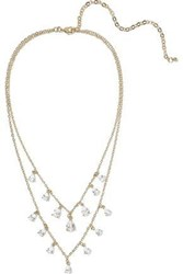 Cz By Kenneth Jay Lane Woman 14 Karat Gold Plated Crystal Necklace Gold