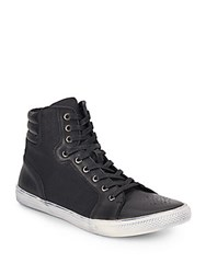Joe's Jeans Canvas And Leather High Top Sneaker Black