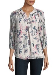 Ivanka Trump Mixed Floral Print Blouse Ivory Tan