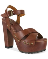 Mia Elly Platform Wooden Clog Sandals Women's Shoes Cognac
