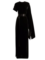 Awake Asymmetric Draped Velvet Maxi Dress Black