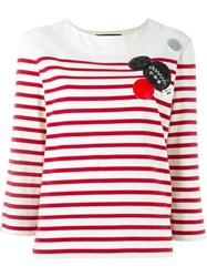 Marc By Marc Jacobs Patched Breton Stripe Top White