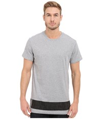 G Star Stonum Short Sleeve Crew Neck Long Tee In Compact Jersey Grey Heather Men's T Shirt Gray