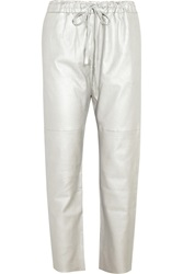 Les Chiffoniers Metallic Stretch Leather Straight Leg Pants