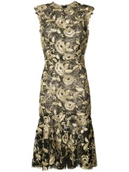 Monique Lhuillier Flared Hem Floral Dress Women Silk 8 Black
