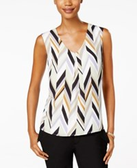 Kasper Printed V Neck Top Pistachio Multi