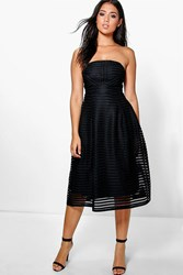 Boohoo Panelled Midi Full Skirt Skater Dress Black