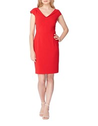 Tahari By Arthur S. Levine Petite Solid Cap Sleeve Sheath Dress Tomato Red