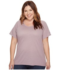 Columbia Plus Size Silver Ridge Zero Short Sleeve Shirt Sparrow Heather Women's Short Sleeve Pullover Pink