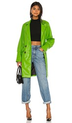 Kendall Kylie Farrah Vegan Leather Trench Coat In Green. Citrine