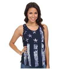 Rock And Roll Cowgirl Tank Top B5 3784 Navy Women's Sleeveless