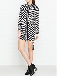 Versus By Versace Geometric Print Shirt Dress Black White Black White