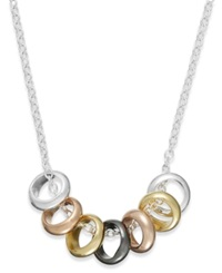 Studio Silver Multi Tone Seven Ring Frontal Necklace In Sterling Silver