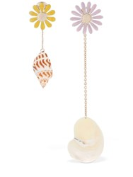 Missoni Asymmetrical Pendant Shell Earrings Multicolor