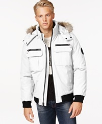 Calvin Klein Bomber Jacket With Faux Fur Hood White