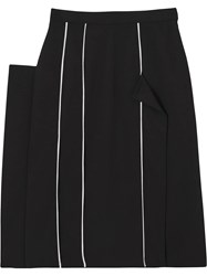 Burberry Piping Detail Stretch Wool Crepe Skirt Black