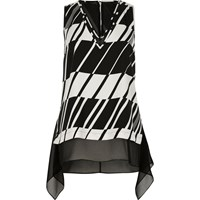 River Island Womens Black And White Chiffon Layer Vest