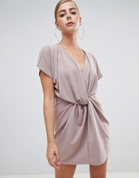 Missguided Knot Front Dress In Nude Beige