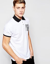 D Struct Baroque Pocket Polo Shirt White