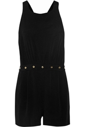 Sandro Plume Textured Knit Playsuit Black