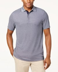 Tasso Elba Men's Supima Blend Jacquard Polo Created For Macy's Navy Blue Combo