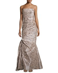 Monique Lhuillier Strapless Gown Fitted With Ruching Snow Leopard