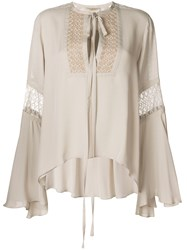 Elie Saab Embroidered Tie Neck Blouse Nude And Neutrals