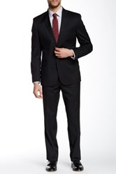 Kenneth Cole Reaction Woven Black Two Button Notch Lapel Wool Blend Suit