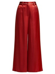 Peter Pilotto High Rise Satin Culotte Trousers Red