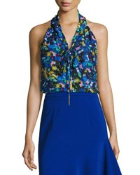 Milly Jewel Print Satin Chiffon Halter Top Multi Multi Pattern