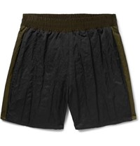 Maison Martin Margiela Wide Leg Striped Nylon Satin Shorts Black