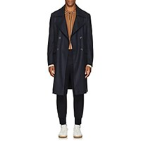 Eidos Plaid Wool Officer's Coat Navy