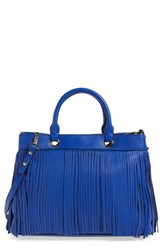Milly Fringed Leather Tote Blue French Blue