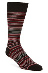 Cole Haan Men's Multi Stripe Crew Socks Red Stripe Black