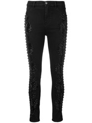 Amen Bead Embroidered Skinny Jeans Black