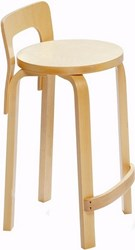 Artek K65 High Chair With Natural Lacquered Frame Black Natural White