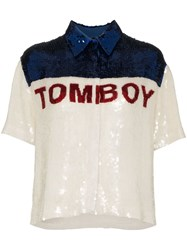 Filles A Papa Tomboy Sequinned Button Down Shirt White