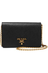 Prada Wallet On A Chain Textured Leather Shoulder Bag Black
