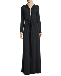 Halston Long Sleeve Jersey Gown With Twist Detail Black