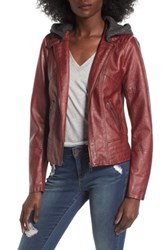 Sebby Women's Faux Leather Jacket With Detachable Jersey Hood Red