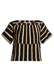 Ace And Jig Vista Square Neck Striped Textured Cotton Top Black Multi