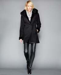 The Fur Vault Fox Fur Collar Shearling Coat Black