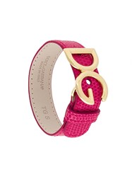 Dolce And Gabbana Logo Plaque Bracelet Pink And Purple