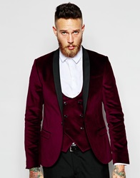 Noose And Monkey Velvet Blazer In Skinny Fit Burgundy
