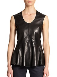Derek Lam Leather And Jersey Peplum Top Black Grey