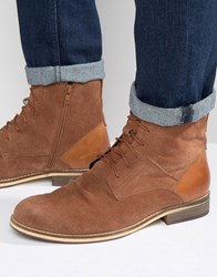 Frank Wright Lace Up Boot In Tan Suede Tan