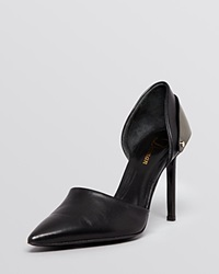 Delman Pointed Toe D'orsay Pumps Brice High Heel Black Steel